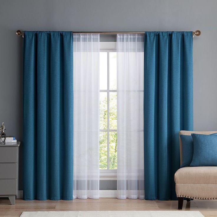 Vcny Home 6-piece Diana Curtain & Throw Pillow Set, Blue