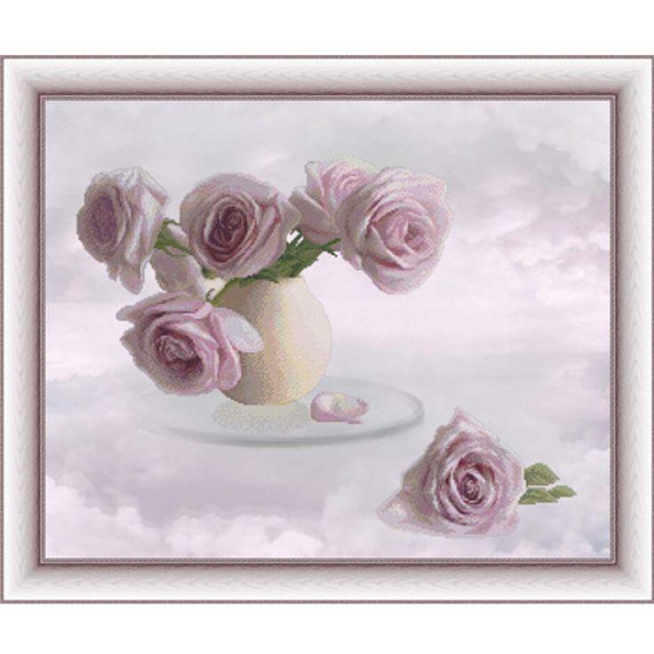 Набор для вышивания крестом на канве с фоновым рисунком Розовые облака, 48х39см, U0303, Юнона | Fancywork - вышивка и рукоделие