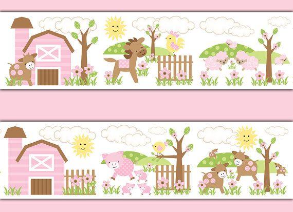 Pink Farm Nursery Decals Wallpaper Border Girl Barnyard