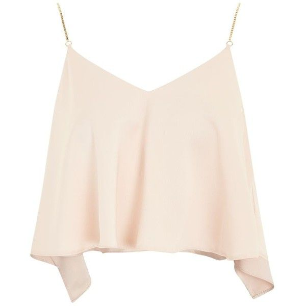 Topshop Chain Strap Camisole Top ($34) ❤ liked on Polyvore featuring tops, nude, christmas party tops, pink tank top, camisole tank top, cami tank top and camisole tops