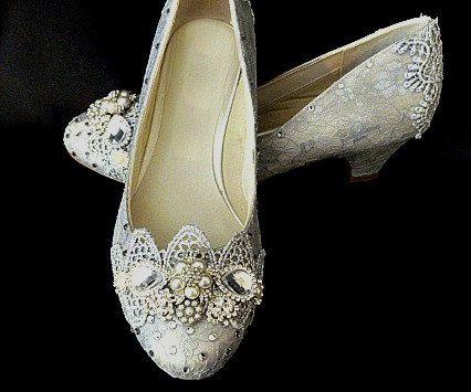 Zilveren bruiloft schoenen... Zilveren kant... Zilveren Lacy