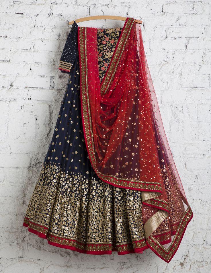 SwatiManish Lehengas SMF LEH 161 17 Indigo lehenga with gold daman and scralet dupatta with blue thread work blouse