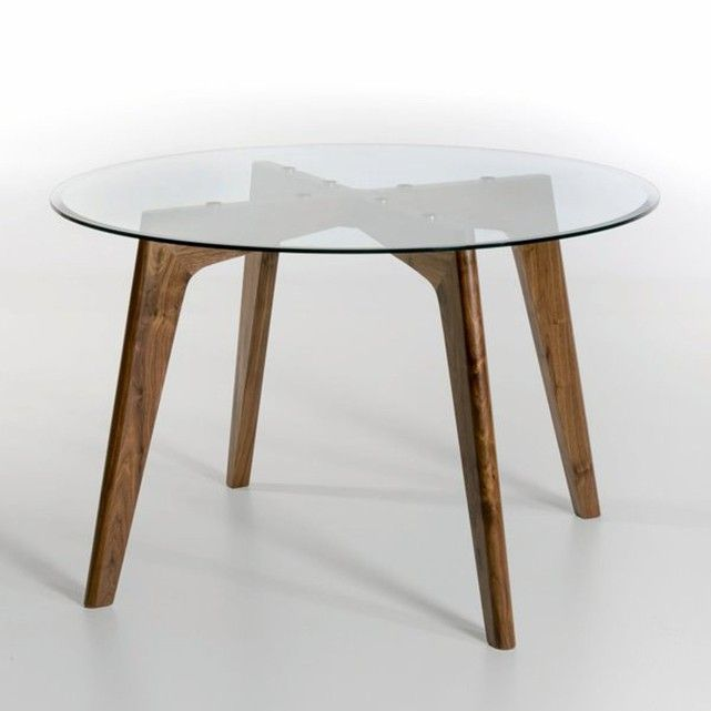 Table Ronde Verre Et Noyer O130 Cm Kristal Noyer Am Pm La Redoute Glass Round Dining Table Dining Table Round Dining Table