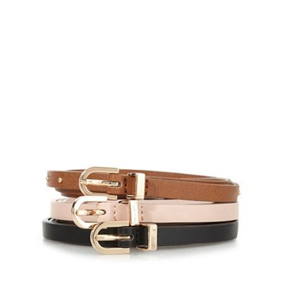 The Collection Pack of three assorted skinny trouser belts | Debenhams