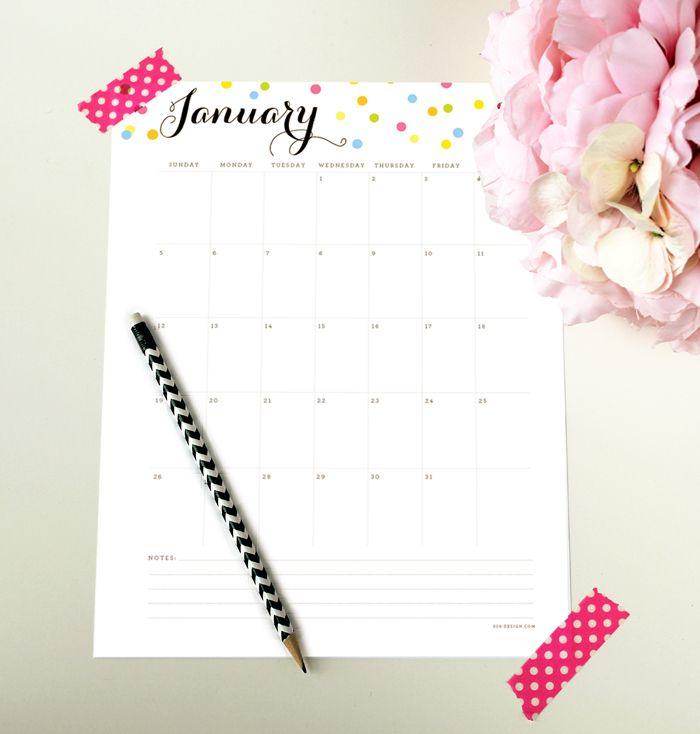 2014 Free printable calendar with editable text areas