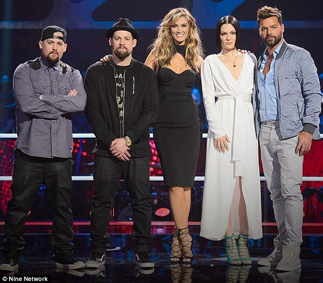 On the panel: The Madden's sit alongside Delta Goodrem, Jessie J and Ricky Martin during The Voice