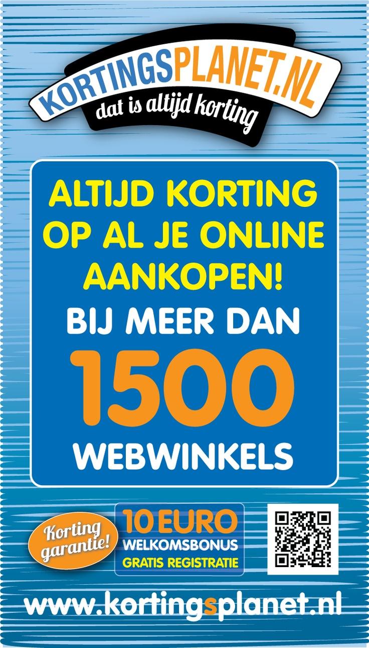 €10 welkomsbonus! Altijd korting op al je online aankopen! Bij meer dan1500 webwinkels. Kortingsplanet, dat is altijd korting.