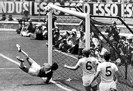 Gordon Banks save against Pele in the 1970 World Cup. Every time I see it I still wonder how he did it,