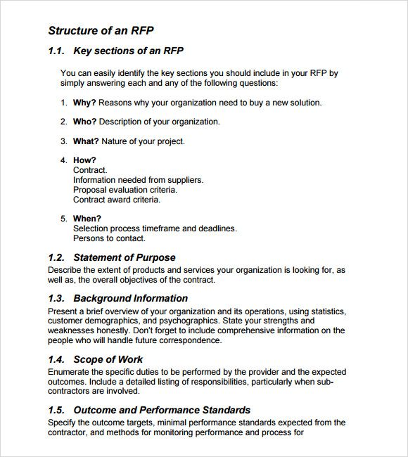 Rfp Template Words Word Template Templates