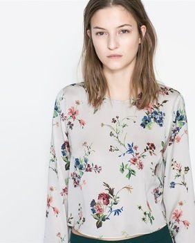 ST1053 New Fashion Ladies' Elegant Floral print blouses O-neck long sleeve Shirt casual slim brand designer tops