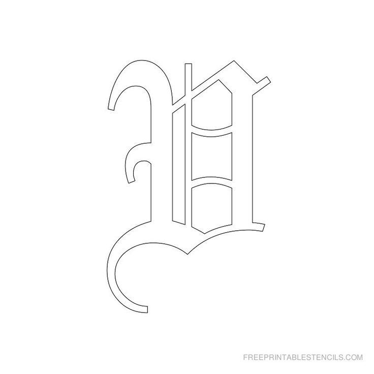 Printable Old English Alphabet Stencil V