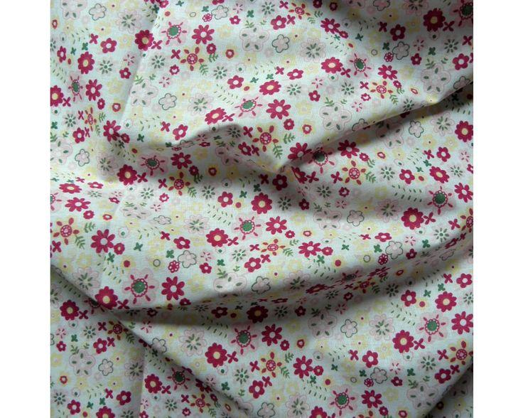 Flowerpower, virágmintás pamut vászon, rózsaszín