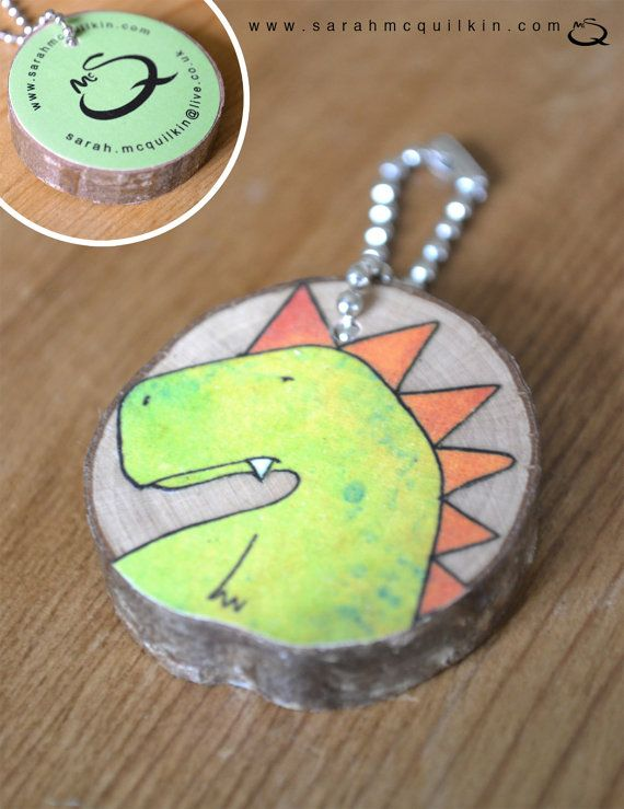 Illustrated wood animal character keyring by Sarah McQuilkin, £8.00