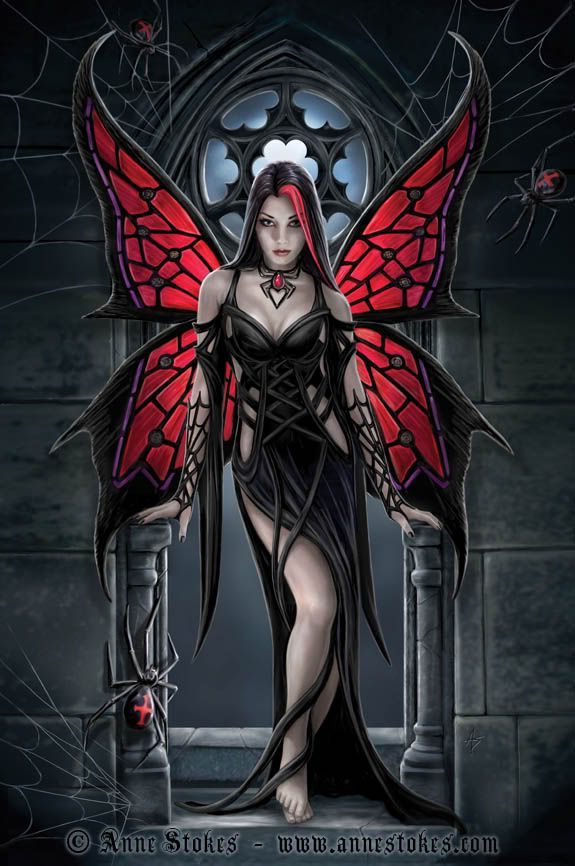 """I'm not much of one for fairies, but the way the artist makes her wings look like stained glass is absolutely breathtaking. —""""Aracnafaria"""" by Anne Stokes"""
