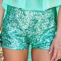 ADORBSFashion, Mint Green, Glitter Shorts, Colors, Tiffany Blue, Sequins Shorts, Saia Mini-Sequins, Teal, Sequin Shorts