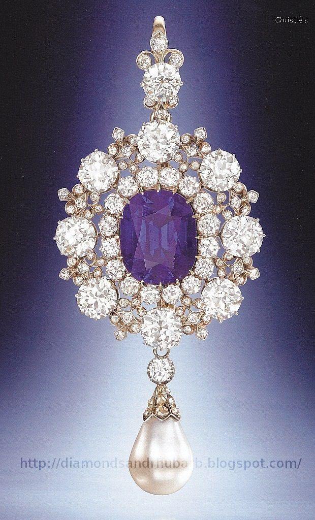 Amethyst, Diamond And Pearl Pendant