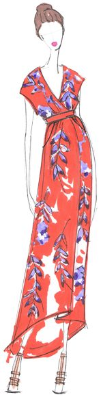 Designer Sketch by Whit NY - PANTONE Celosia Orange & PANTONE Violet Tulip Spring 2014 Pantone Fashion Color Report #FCRS14 #pantone @WHIT