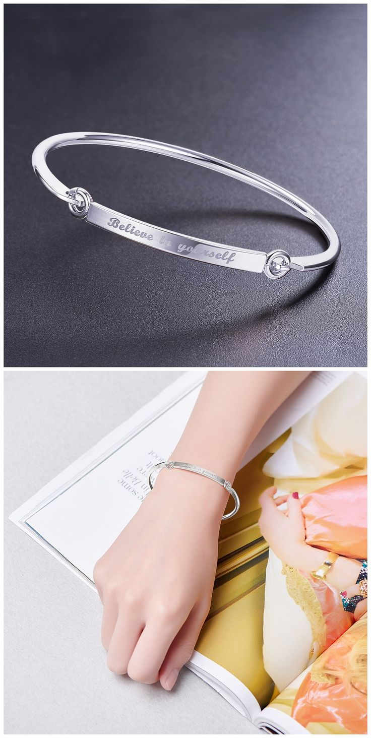charm silver bangle bangles sweetiee pandahallcom yourself pinterest best in believe bracelet what bracelets on images plated a engraved is carved