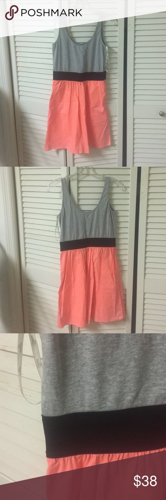 Gray, black, and coral guess dress Gray tank dress with black elastic band and a coral skirt from guess Guess Dresses Mini
