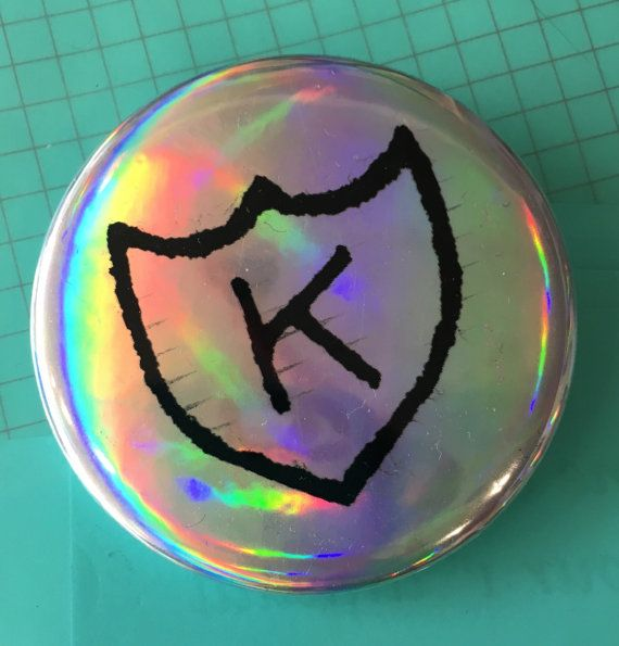 K RECORDS logo holographic 2.25 button Calvin by HimikoMemorabilia