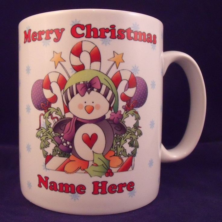 Personalised Christmas Penguin Mug - Coaster - Cup - Novelty - Xmas - Gift