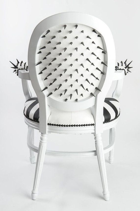 Tufted Black And White Leather French Louis XVI Spike Armchair Custom  Geometric Upholstery Painted Glossy/ Lacquer White Dining Chairs