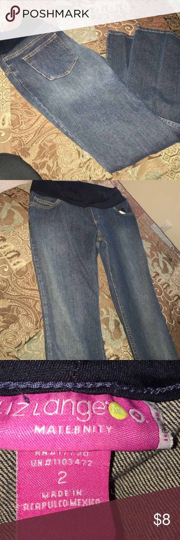 Liz Lange Maternity Stretch Jeans Blue stretch maternity jeans, tag says size 2, jeans seem to be a little bigger fits more like a medium, good condition, great low price. Liz Lange Jeans