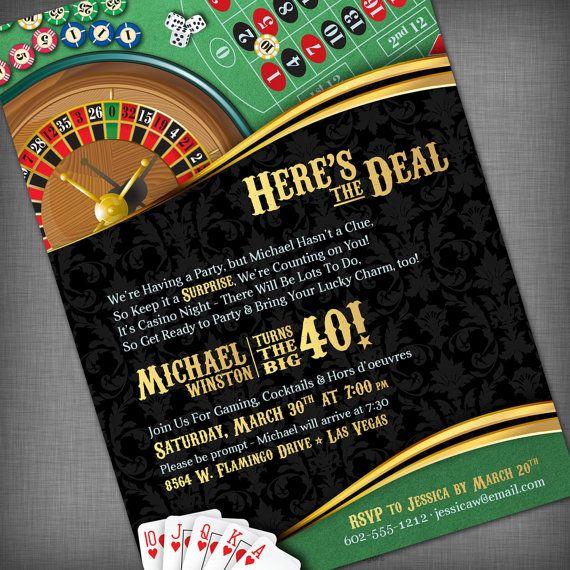 Casino Theme Invitation for Birthday Party, Casino/Game Night, Fundraiser, etc. via Etsy