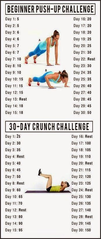 I can never stick with challenges like these. But the push up on I seriously need to try. I have 0 upper body strength.