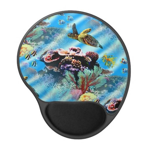 Coral Reef Ocean Sea Life Mouse Pad - This mouse pad features a coral reef with a turtle, a sea dragon and fish swimming around pristine ocean waters. http://www.zazzle.com/coral_reef_ocean_sea_life_mouse_pad-159500350506331729?rf=238523064604734277
