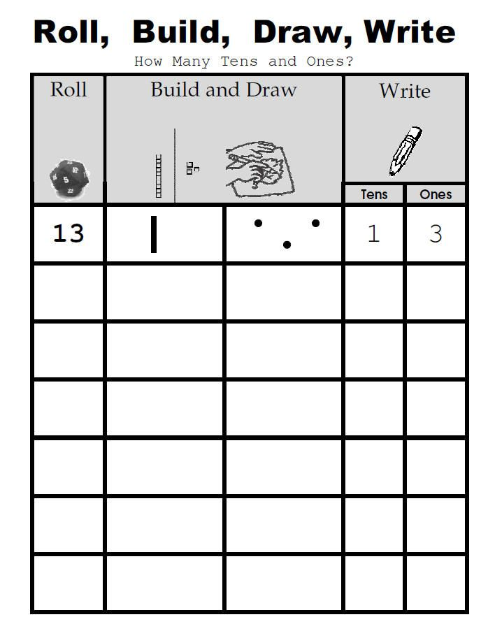 Place value activity: roll, build, draw, write. Also has lots of other