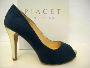 Elegantní lodičky PIACET s otevřenou špičkou, modro-zlaté #elegantni #luxusni #lodicky #damskamoda #damskaobuv