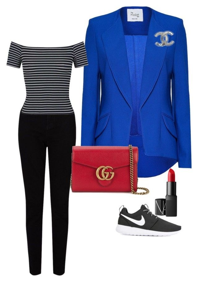 """classic casual cool"" by brittanynorma on Polyvore featuring Hebe Studio, EAST, NIKE, Chanel, Miss Selfridge, NARS Cosmetics and Gucci"