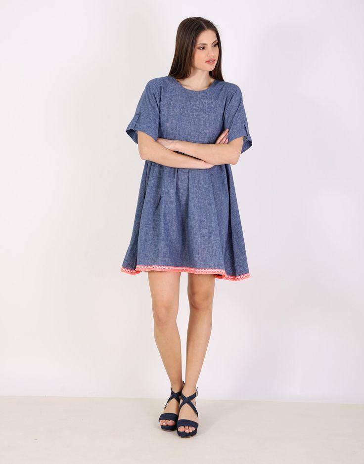 Τζιν κλος φόρεμα - Μπλε