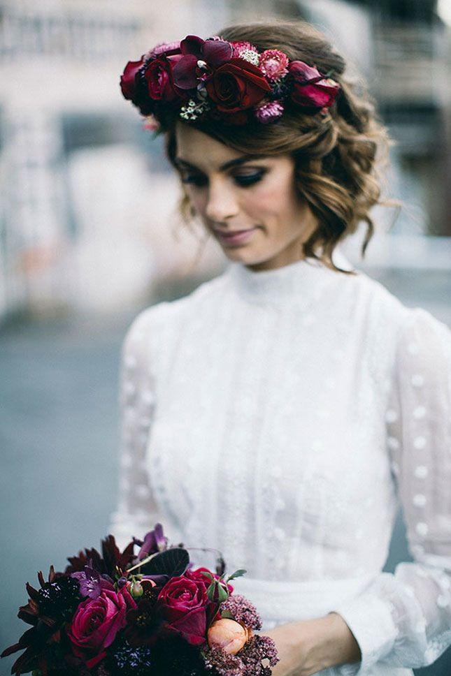 Such a stunning dark color palette wedding flower crown.
