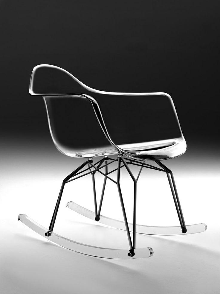 Diamond Rocking Chair. Dondolo Diamond. Scocca con braccioli in policarbonato trasparente o bianco.