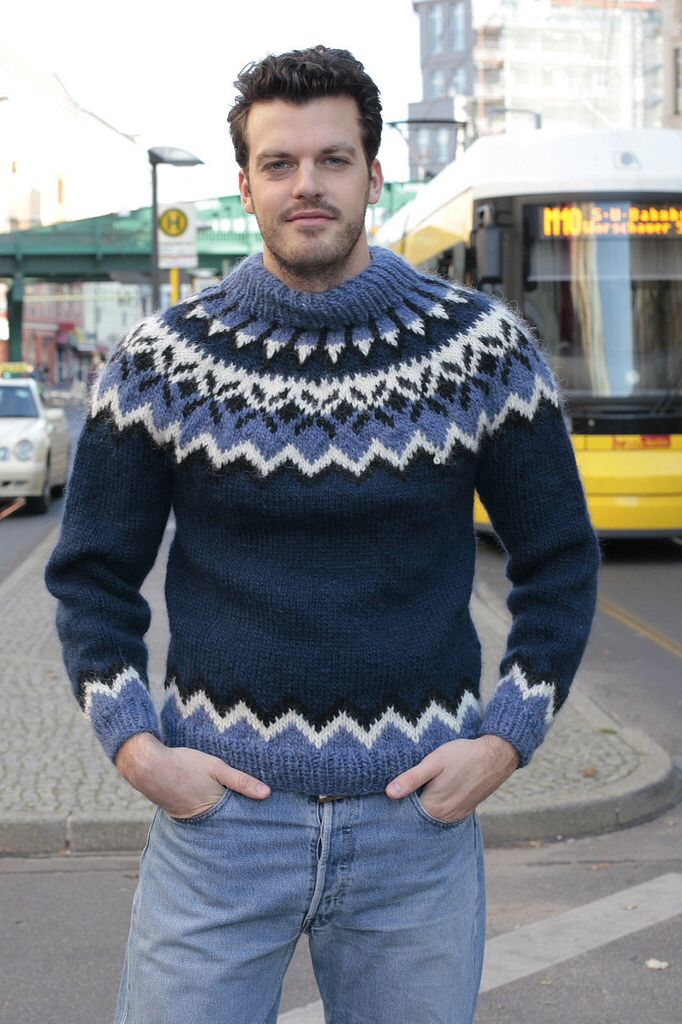 Mens fashion icelandic wool sweater
