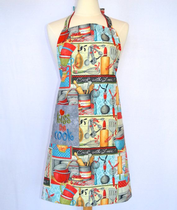 Kiss the Cook Apron with an Embroidered Pocket  by 4EverydayEmbellished, $31.00