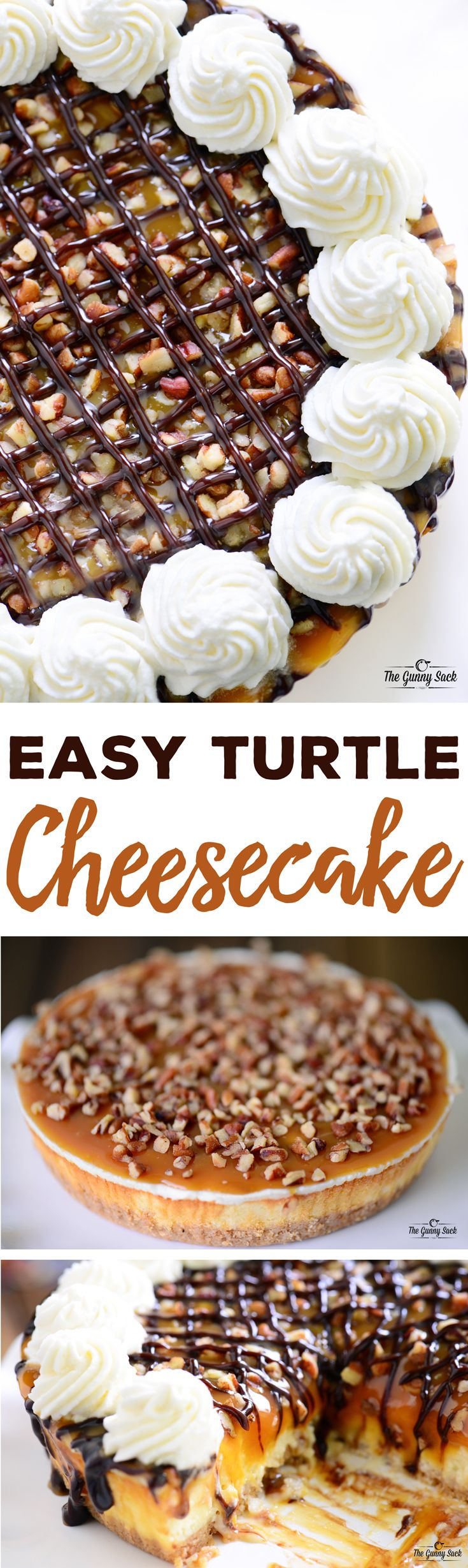 Easy turtle cheesecake recipe made from a Sara Lee Original Cream Cheesecake. Top it with chocolate, caramel, pecans and whipped cream. Great for the holidays! #UniquelyYours Sponsored by Sara Lee® (Icecream Recipes Cheesecake)