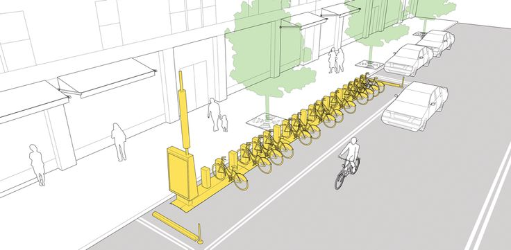 Bike corrals explained and illustrated in the NATCO Urban Street Design Guide. Click on image for details, and visit the Slow Ottawa 'Streets for Everyone' Pinterest board for more of these superb illustrations.