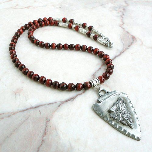 Red Tiger Eye Gemstone Necklace with Wolf & Arrowhead Pewter Pendant 20in 22in 24in 26in - Handcrafted in USA $54.95 +