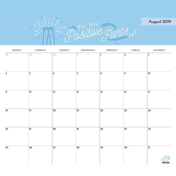 image regarding Imom Calendars titled Confident Head Printable 2019 Calendar Absolutely free Printables