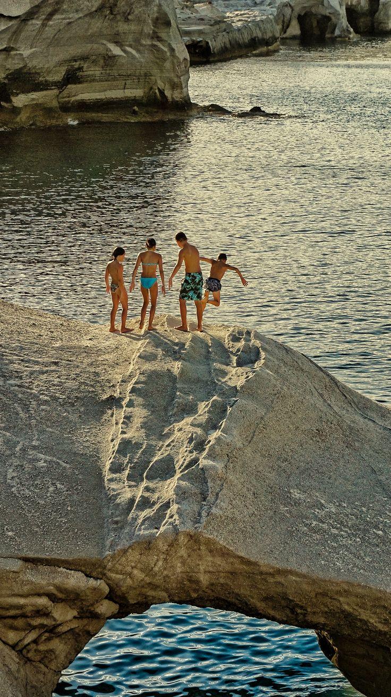 Diving in Sarakiniko beach, Milos