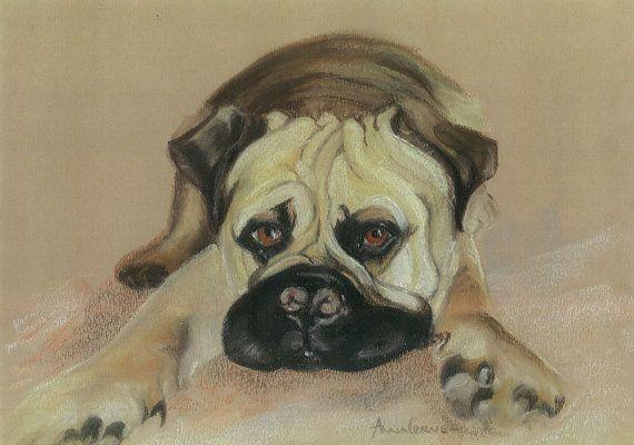 Bull Mastiff Pastel Print - A4 - Farley, Bull Mastiff Dog. 5% of profits to Cornwall Air Ambulance Trust #dogs #art