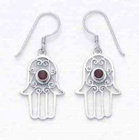 Fair-trade Silver Blessing Hand with Garnet. Very pretty. Not too heavy for people with sensitive ears.
