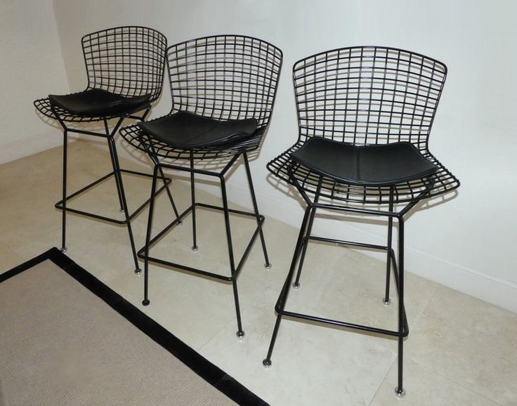 SET OF 3 BLACK KNOLL BERTOIA BARSTOOLS WITH SEAT PADS
