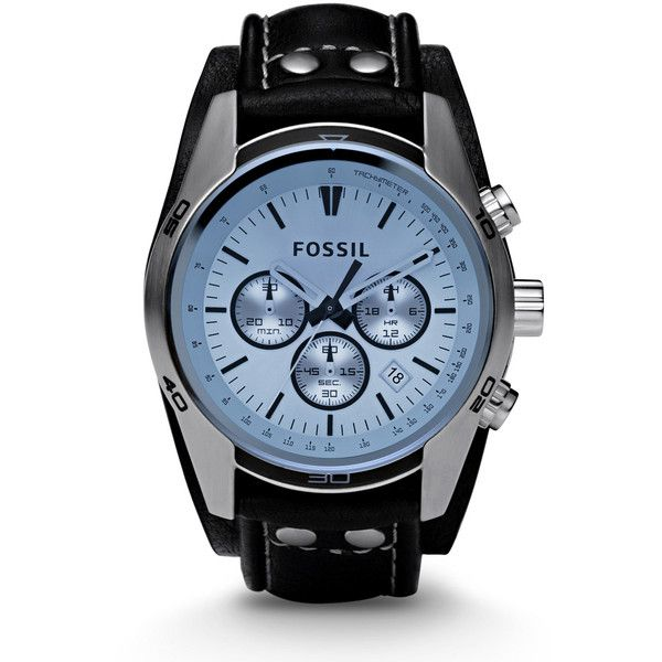 fossil blue glass chronograph black leather strap menu0027s watch ch2564 112
