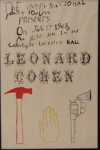 Jim Dine Leonard Cohen poster produced with some of the items from 54 items from 60 Chester Square