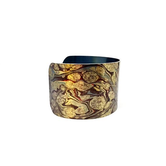 Aluminum Cuff Bracelet - Brown and Blue Cuff Bracelet - Bold Jewelry - Antique Paper Bangle - Paper Marbling - Painted Bangle