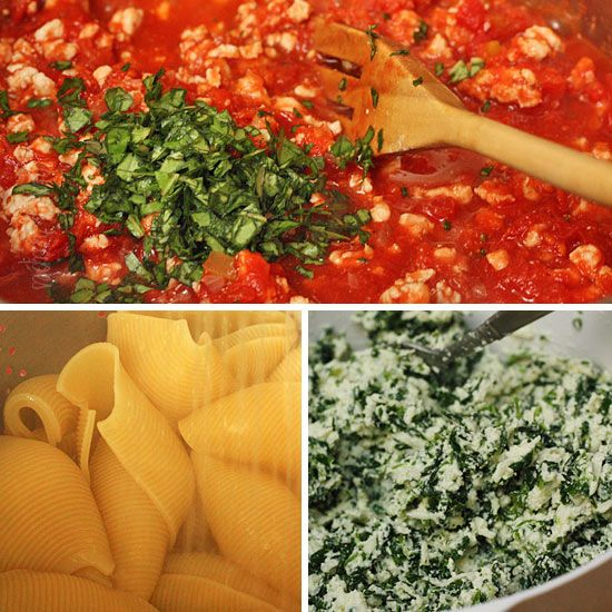 Spinach Stuffed Shells with Meat Sauce | can also modify recipe by ...